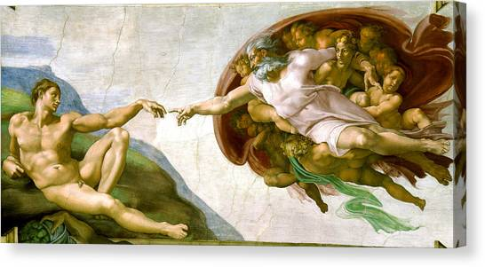 Canvas Print featuring the painting   The Creation Of Adam by Michelangelo di Lodovico Buonarroti Simoni
