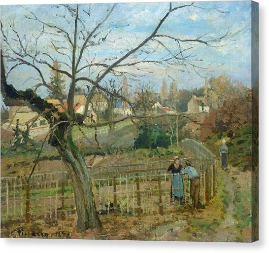 Post Falls Canvas Print -  The Fence by Camille Pissarro