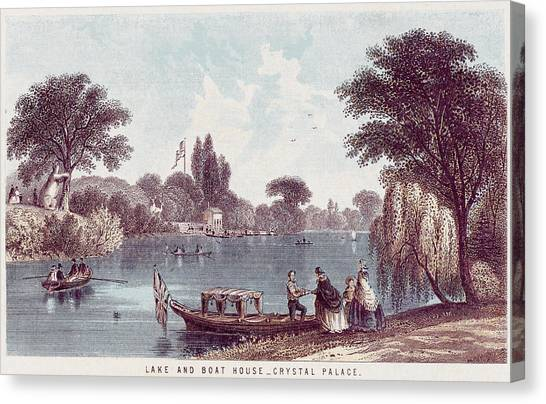 Ply Canvas Print -  The Picturesque Boating Lake by Mary Evans Picture Library