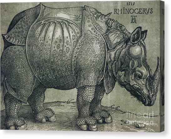 Rhinos Canvas Print -  The Rhinoceros by Albrecht Durer