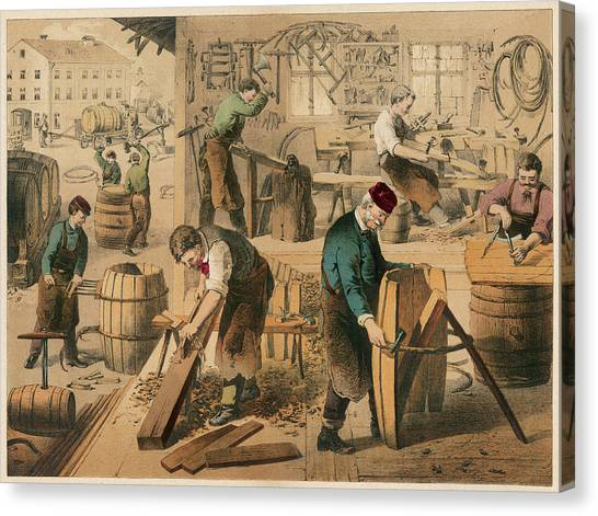 The Workshop Of A Cooper Or  Barrel Canvas Print by Mary Evans Picture Library