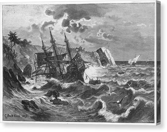 The Wreck Of The Caravel  'santa Canvas Print by Mary Evans Picture Library