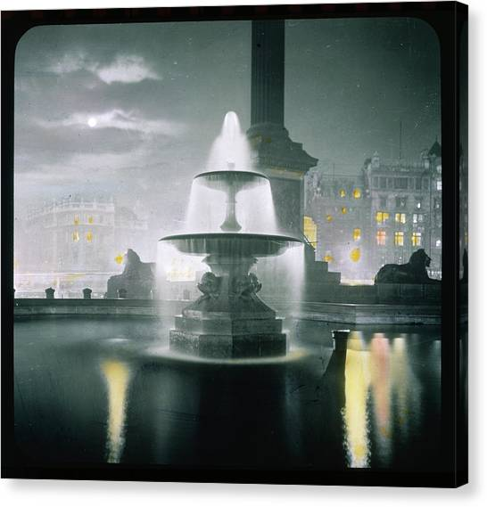 Trafalgar Square At Night  Showing Canvas Print by Mary Evans Picture Library
