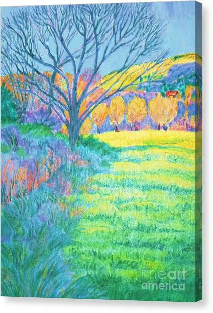 Tree In Field Painting Canvas Print by Annie Gibbons