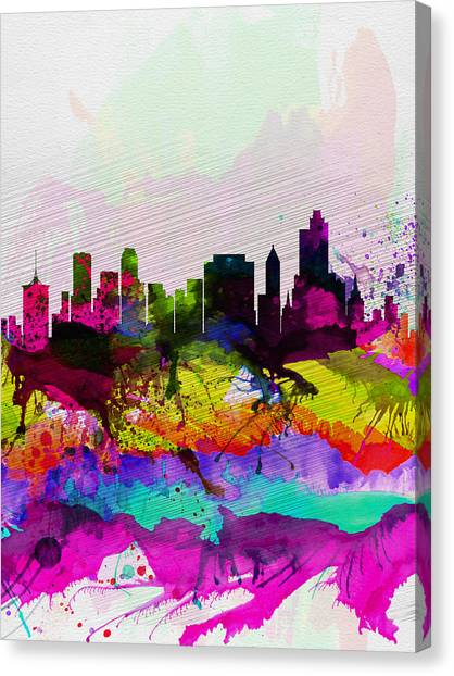 Oklahoma Canvas Print -  Tulsa Watercolor Skyline by Naxart Studio