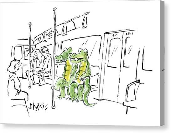 Crocodiles Canvas Print -  Two Alligators Ride The Subway by Sidney Harris