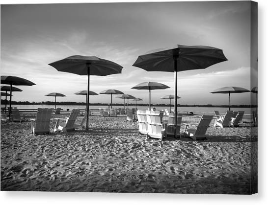 Umbrellas On The Beach Canvas Print