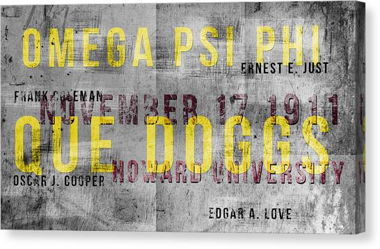 Omega Psi Phi Canvas Print -  Urban Que Doggs by Rodney Wofford