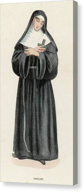 Ursuline Nun Devoted To Saint Ursula Canvas Print by Mary Evans Picture Library