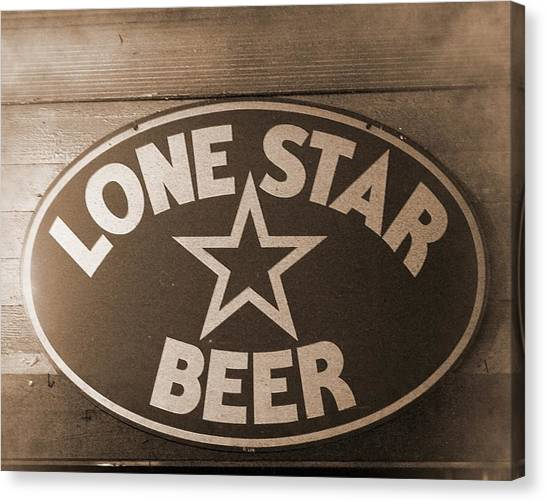 Vintage Sign Lone Star Beer Canvas Print
