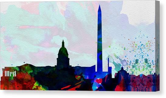 Washington Capitals Canvas Print -  Washington Dc City Skyline 2 by Naxart Studio