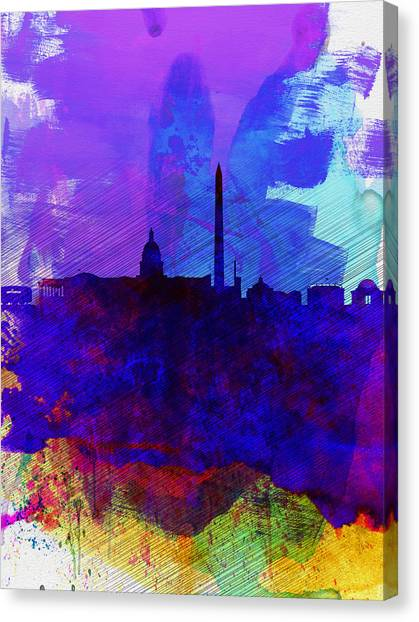 Washington Capitals Canvas Print -  Washington Dc Watercolor Skyline 2 by Naxart Studio