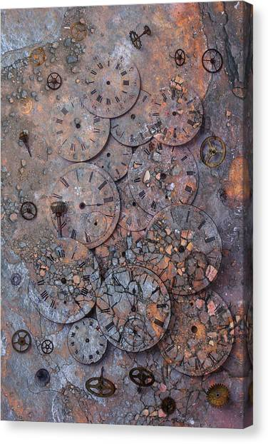 Ticks Canvas Print -  Watch Faces Decaying by Garry Gay