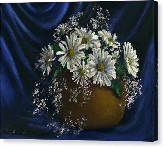 White Daisies In Blue Fabric Still Life Art Canvas Print