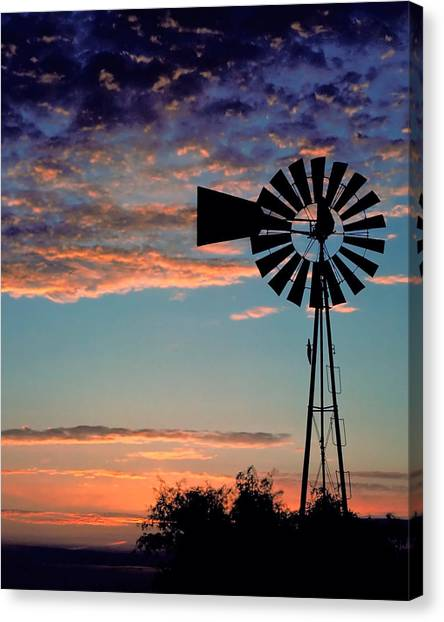 Wind Farms Canvas Print -  Windmill At Dawn by David and Carol Kelly