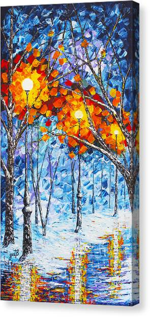 Silence Winter Night Light Reflections Original Palette Knife Painting Canvas Print