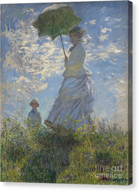 Painters Canvas Print -  Woman With A Parasol Madame Monet And Her Son by Claude Monet