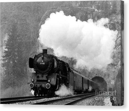 01 150 On Tracks In Franconia Canvas Print by Joachim Kraus