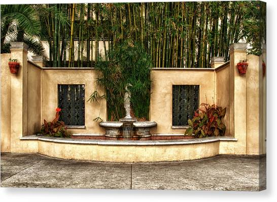 Small Fountain And Reflection Pool Canvas Print