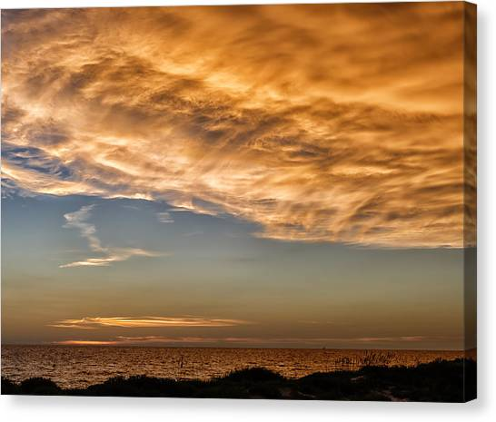 Southwest Florida Sunset Canvas Print - Wave Cloud Sunset by Frank J Benz