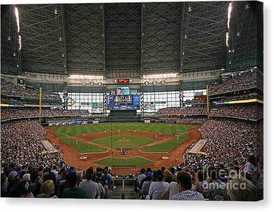 Milwaukee Brewers Canvas Print - 0612 Miller Park by Steve Sturgill