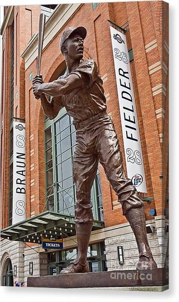 Milwaukee Brewers Canvas Print - 0620 Hank Aaron Statue by Steve Sturgill
