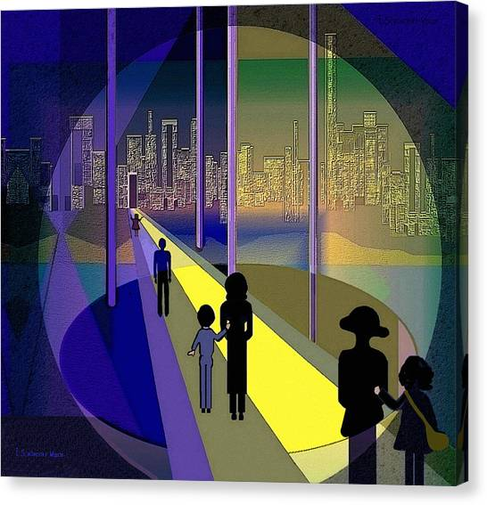 070 - Nightwalking To The Golden City    Canvas Print by Irmgard Schoendorf Welch