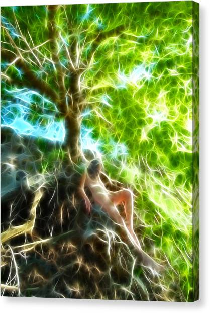 0789 Abstract Figure Energy Nude In Nature Under Tree Canvas Print