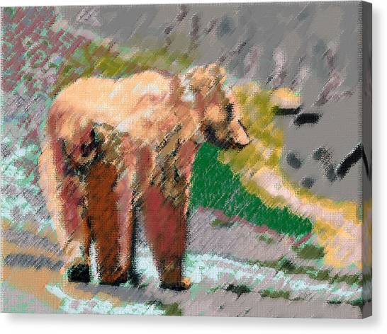 081914 Pastel Painting Grizzly Bear Canvas Print