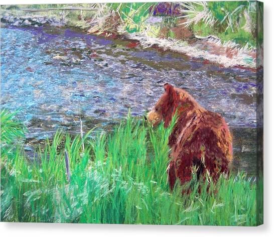 082714 Black Bear Pastel Canvas Print