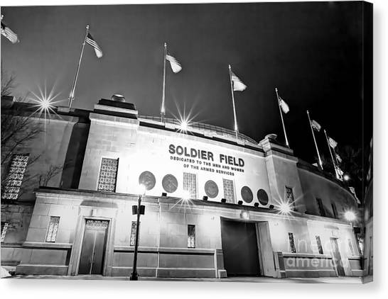 Soldier Field Canvas Print - 0879 Soldier Field Black And White by Steve Sturgill