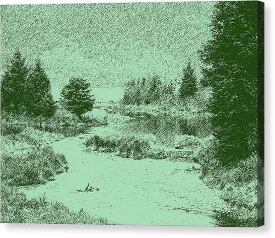 092214 Digital Pen Drawing Alaska Canvas Print