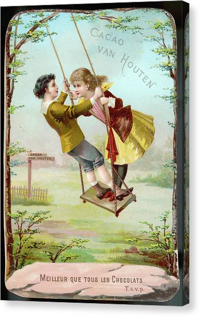 A Boy And A Girl Swing  Together Canvas Print by Mary Evans Picture Library
