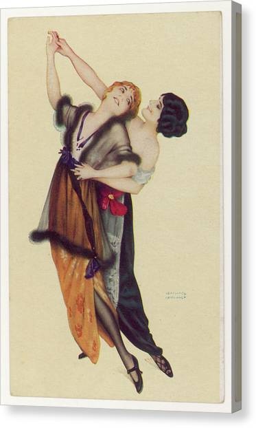 Two Stylishly Dressed Ladies  Dance Canvas Print by Mary Evans Picture Library