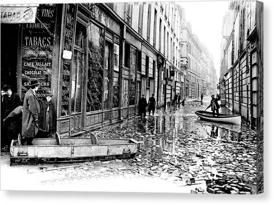 Flooding Canvas Print - 10th Century Flooded Paris Street by Collection Abecasis