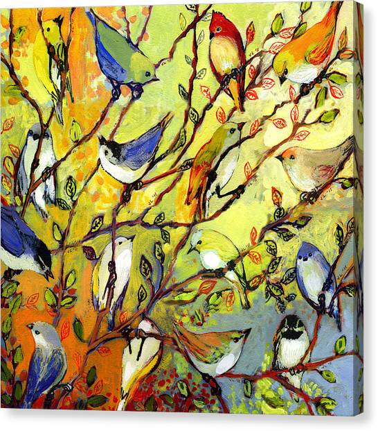Canaries Canvas Print - 16 Birds by Jennifer Lommers