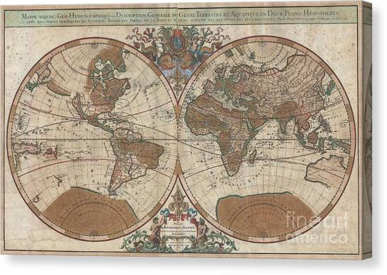 Not In Use Canvas Print - 1691 Sanson Map Of The World On Hemisphere Projection by Paul Fearn