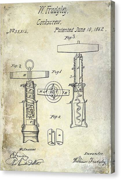 Cognac Canvas Print - 1862 Corkscrew Patent Drawing by Jon Neidert