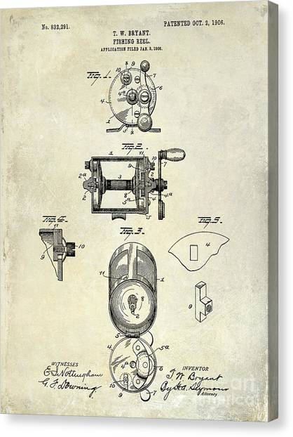 Fishing Poles Canvas Print - 1906 Fishing Reel Patent Drawing by Jon Neidert