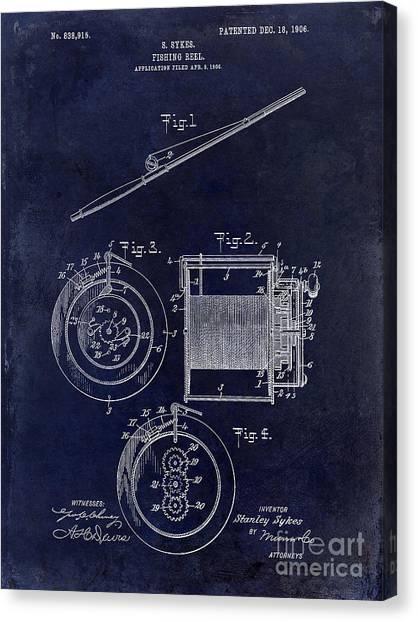 Fishing Poles Canvas Print - 1906 Fishing Reel Patent by Jon Neidert