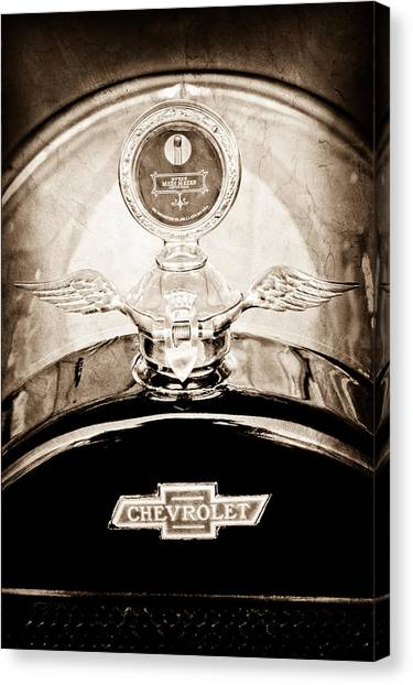Touring Canvas Print - 1915 Chevrolet Touring Hood Ornament - Moto Meter by Jill Reger
