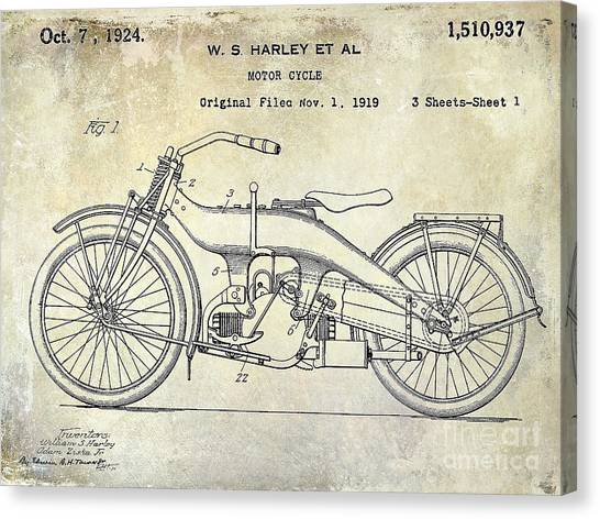 Hogs Canvas Print - 1924 Harley Davidson Motorcycle Patent  by Jon Neidert
