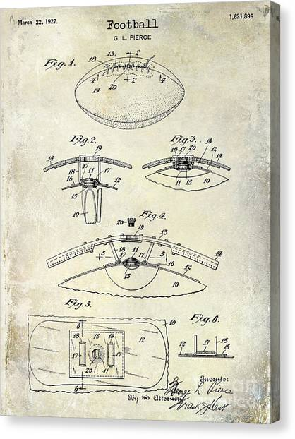 Houston Texans Canvas Print - 1927 Football Patent Drawing  by Jon Neidert