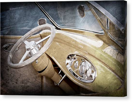 1932 Ford Canvas Print - 1932 Ford Roadster Steering Wheel by Jill Reger