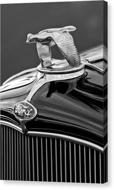 1932 Ford Canvas Print - 1932 Ford V8 Hood Ornament by Jill Reger