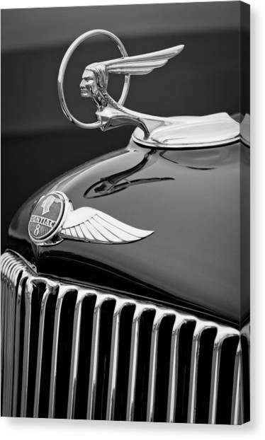 Street Rods Canvas Print - 1933 Pontaic Street Rod Hood Ornament by Jill Reger