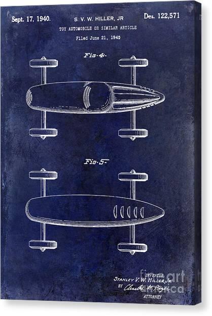 Nascar Canvas Print - 1940 Toy Car Patent Drawing Blue by Jon Neidert
