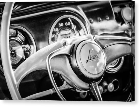 Coupe Canvas Print - 1941 Lincoln Continental Coupe Steering Wheel Emblem -0858c by Jill Reger