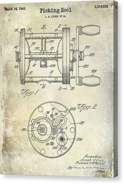 Fishing Poles Canvas Print - 1943 Fishing Reel Patent Drawing by Jon Neidert