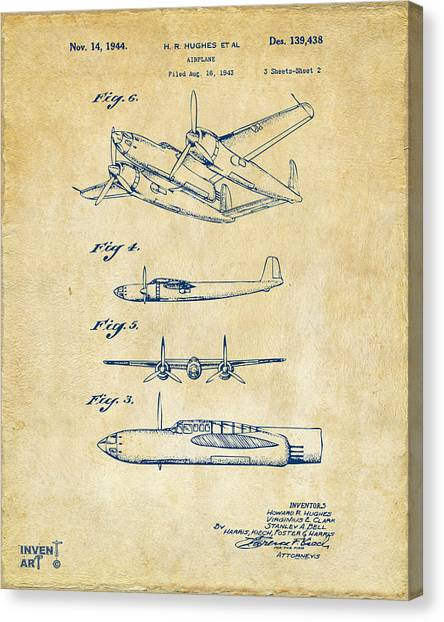 Paper Planes Canvas Print - 1944 Howard Hughes Airplane Patent Artwork 2 Red by Nikki Marie Smith